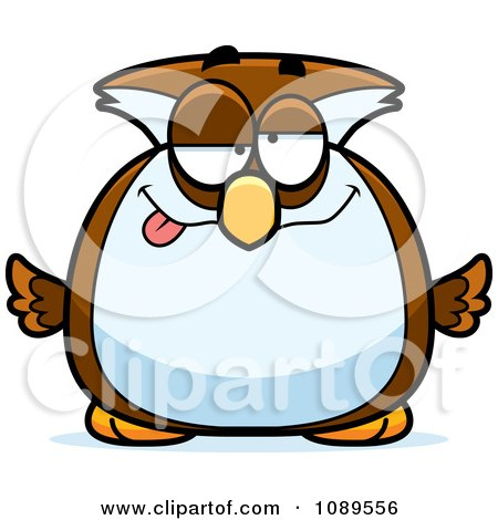 Clipart Chubby Drunk Owl - Royalty Free Vector Illustration by Cory Thoman