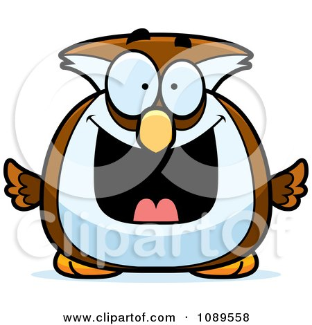 Clipart Chubby Grinning Owl - Royalty Free Vector Illustration by Cory Thoman