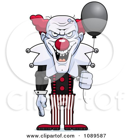 Clipart Demonic Clown Holding A Balloon - Royalty Free Vector Illustration by Cory Thoman