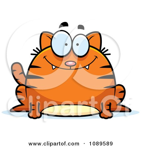 Clipart Chubby Smiling Orange Tabby Cat - Royalty Free Vector Illustration by Cory Thoman