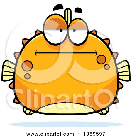 Clipart Chubby Bored Orange Blowfish - Royalty Free Vector Illustration by Cory Thoman