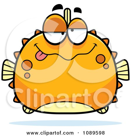 Clipart Chubby Drunk Orange Blowfish - Royalty Free Vector Illustration by Cory Thoman