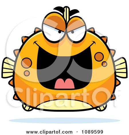 Clipart Chubby Evil Orange Blowfish - Royalty Free Vector Illustration by Cory Thoman