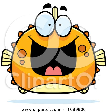 Clipart Chubby Grinning Orange Blowfish - Royalty Free Vector Illustration by Cory Thoman