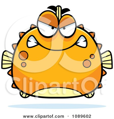Clipart Chubby Mean Orange Blowfish - Royalty Free Vector Illustration by Cory Thoman