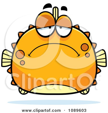 Clipart Chubby Depressed Orange Blowfish - Royalty Free Vector Illustration by Cory Thoman