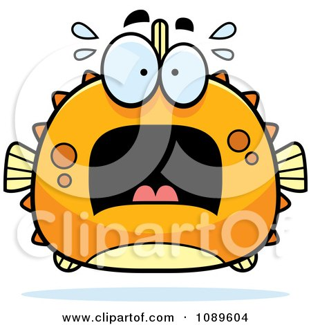 Clipart Chubby Scared Orange Blowfish - Royalty Free Vector Illustration by Cory Thoman