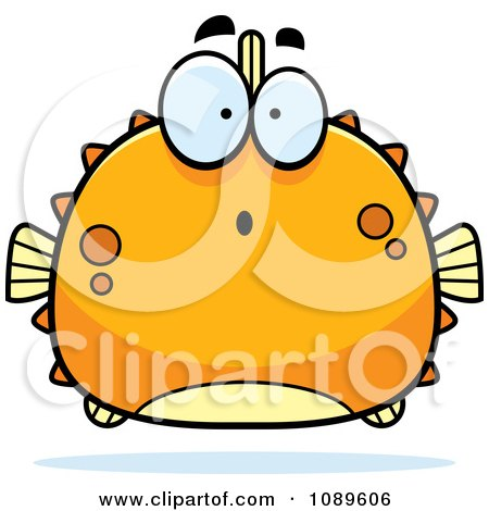 Clipart Chubby Surprised Orange Blowfish - Royalty Free Vector Illustration by Cory Thoman