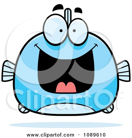 Clipart Chubby Grinning Blue Fish - Royalty Free Vector Illustration by Cory Thoman