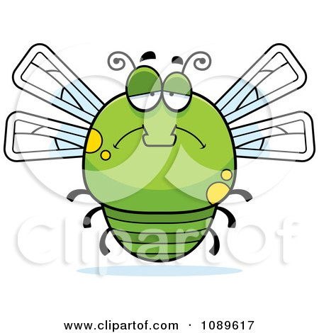 Clipart Chubby Sad Green Dragonfly - Royalty Free Vector Illustration by Cory Thoman