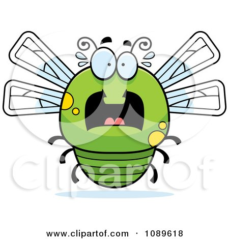 Clipart Chubby Scared Green Dragonfly - Royalty Free Vector Illustration by Cory Thoman