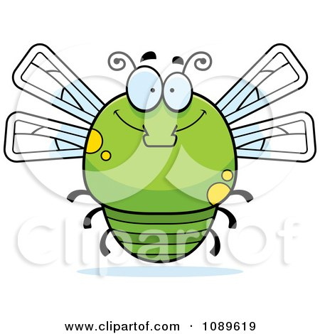 Clipart Chubby Smiling Green Dragonfly - Royalty Free Vector Illustration by Cory Thoman