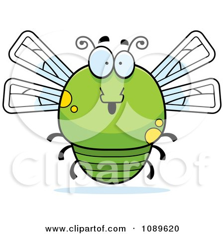 Clipart Chubby Surprised Green Dragonfly - Royalty Free Vector Illustration by Cory Thoman
