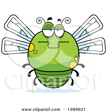 Clipart Chubby Bored Green Dragonfly - Royalty Free Vector Illustration by Cory Thoman