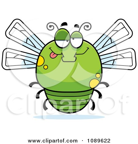 Clipart Chubby Drunk Green Dragonfly - Royalty Free Vector Illustration by Cory Thoman