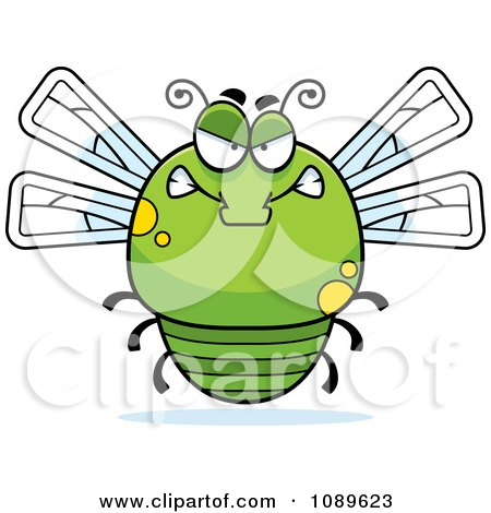 Clipart Chubby Mad Green Dragonfly - Royalty Free Vector Illustration by Cory Thoman