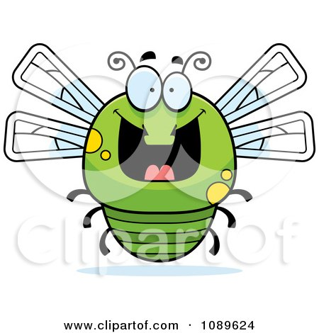 Clipart Chubby Grinning Green Dragonfly - Royalty Free Vector Illustration by Cory Thoman