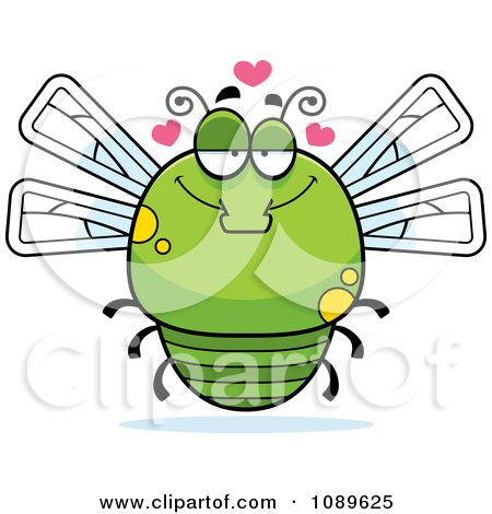 Clipart Chubby Infatuated Green Dragonfly - Royalty Free Vector Illustration by Cory Thoman