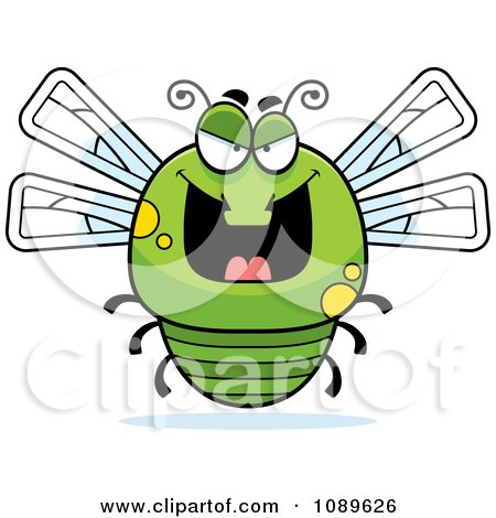 Clipart Chubby Evil Green Dragonfly - Royalty Free Vector Illustration by Cory Thoman