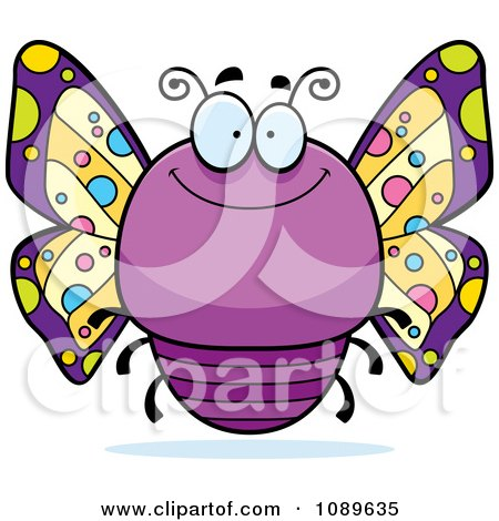 Chubby Smiling Purple Butterfly Posters, Art Prints