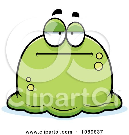 Clipart Pudgy Bored Green Blob - Royalty Free Vector Illustration by Cory Thoman