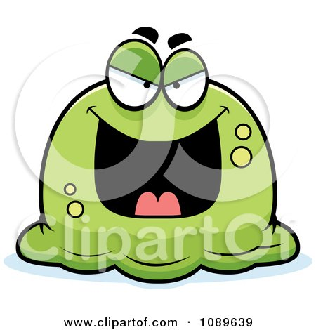 Clipart Pudgy Evil Green Blob Royalty Free Vector Illustration