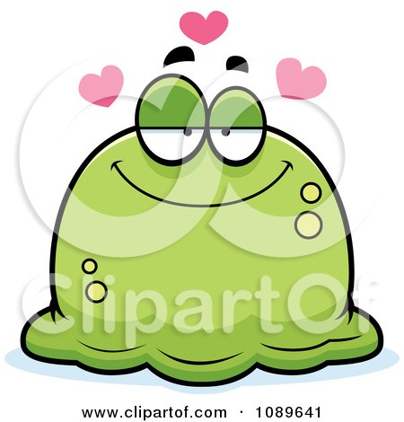 Clipart Pudgy Infatuated Green Blob - Royalty Free Vector Illustration by Cory Thoman