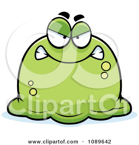 Clipart Pudgy Mad Green Blob - Royalty Free Vector Illustration by Cory Thoman