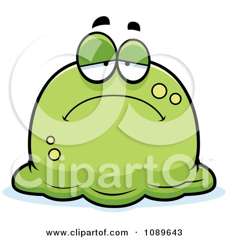 Clipart Pudgy Sad Green Blob - Royalty Free Vector Illustration by Cory Thoman