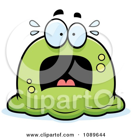 Clipart Pudgy Scared Green Blob - Royalty Free Vector Illustration by Cory Thoman