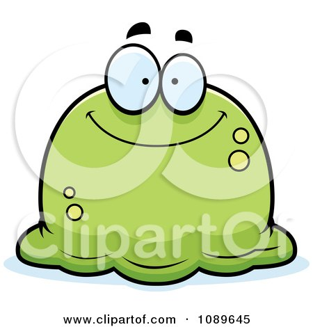 Clipart Pudgy Smiling Green Blob - Royalty Free Vector Illustration by Cory Thoman