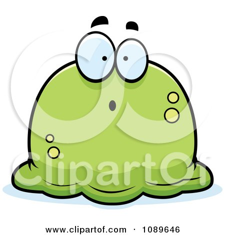Clipart Pudgy Surprised Green Blob - Royalty Free Vector Illustration by Cory Thoman