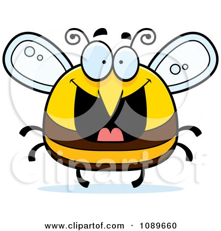 Clipart Pudgy Grinning Bee - Royalty Free Vector Illustration by Cory Thoman