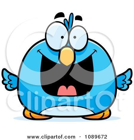 Clipart Pudgy Grinning Blue Bird - Royalty Free Vector Illustration by Cory Thoman