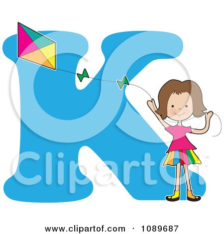 Clipart Alphabet Girl Flying A Kite Over Letter K - Royalty Free Vector Illustration by Maria Bell