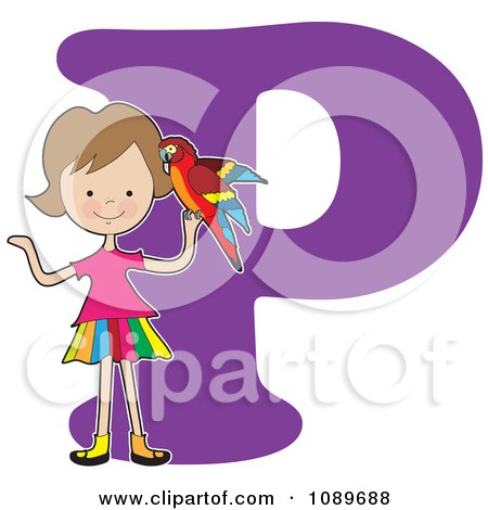 Alphabet Girl Holding A Partot Over Letter P Posters, Art Prints ...