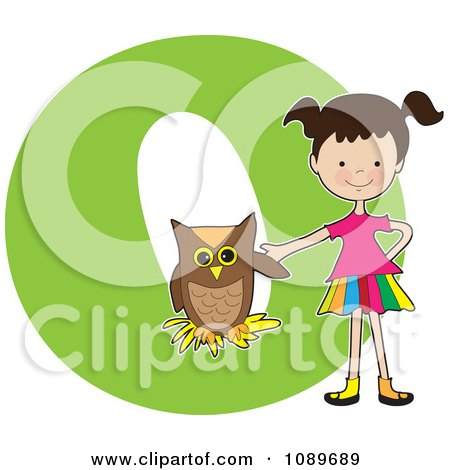 Clipart Alphabet Girl With An Owl Over Letter O - Royalty Free Vector Illustration by Maria Bell