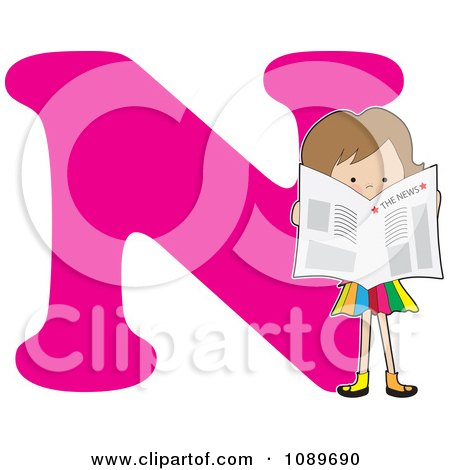 Clipart Alphabet Girl Reading The News Over Letter N - Royalty Free Vector Illustration by Maria Bell