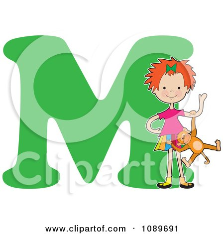 Clipart Alphabet Girl Playing With A Monkey Over Letter M - Royalty Free Vector Illustration by Maria Bell