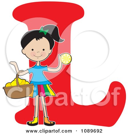 Clipart Alphabet Girl With A Basket Of Lemons Over Letter L - Royalty Free Vector Illustration by Maria Bell