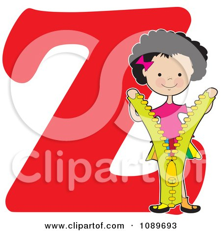 Clipart Alphabet Girl Opening A Zipper Over Letter Z - Royalty Free Vector Illustration by Maria Bell