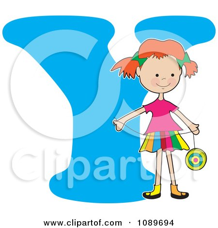 Clipart Alphabet Girl Holding A Yo Yo Over Letter Y - Royalty Free Vector Illustration by Maria Bell