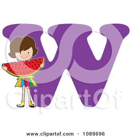 Clipart Alphabet Girl Eating Watermelon Over Letter W - Royalty Free Vector Illustration by Maria Bell