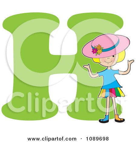 Clipart Alphabet Girl Wearing A Hat Over Letter H - Royalty Free Vector Illustration by Maria Bell