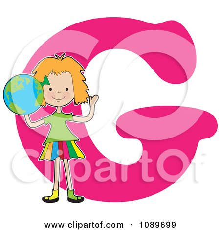 Clipart Alphabet Girl Holding A Globe Over Letter G - Royalty Free Vector Illustration by Maria Bell
