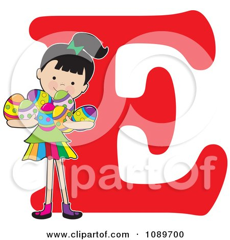 Clipart Alphabet Girl Holding Easter Eggs Over Letter E - Royalty Free Vector Illustration by Maria Bell