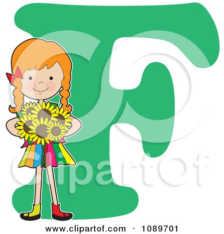 Clipart Alphabet Girl Holding Sunflowers Over Letter F - Royalty Free Vector Illustration by Maria Bell