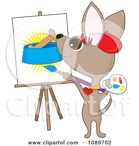 Clipart Artist Chihuahua Dog Painting A Biscuit In A Bowl - Royalty Free Vector Illustration by Maria Bell
