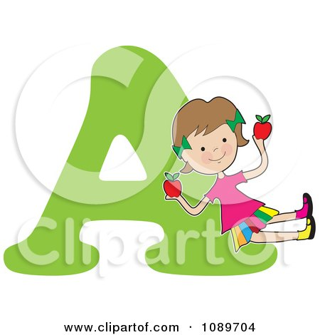 Clipart Alphabet Girl Holding Apples Over Letter A - Royalty Free Vector Illustration by Maria Bell