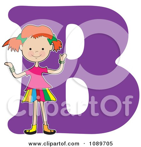 Clipart Alphabet Girl Over Letter A - Royalty Free Vector Illustration by Maria Bell